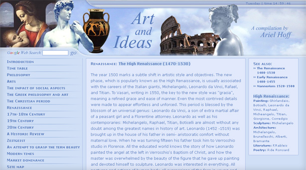 thumbnail of the landing page features works of art