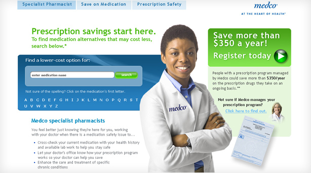 thumbnail of the landing page features pharmacists' photo and search for medication box